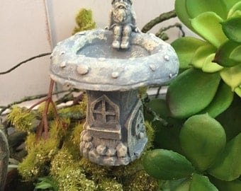 Miniature Gnome Birdbath, Gnome House Bird Bath, Fairy Garden Accessory, Miniature Home & Garden Decor, Birdbath Pick, Bird Bath With Gnome