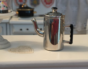 Miniature Coffee Pot,. Silver Metal Coffee Pot With Removable Lid, Dollhouse Miniature, 1:12 Scale, Dollhouse Kitchen, Decor Accessory, Mini