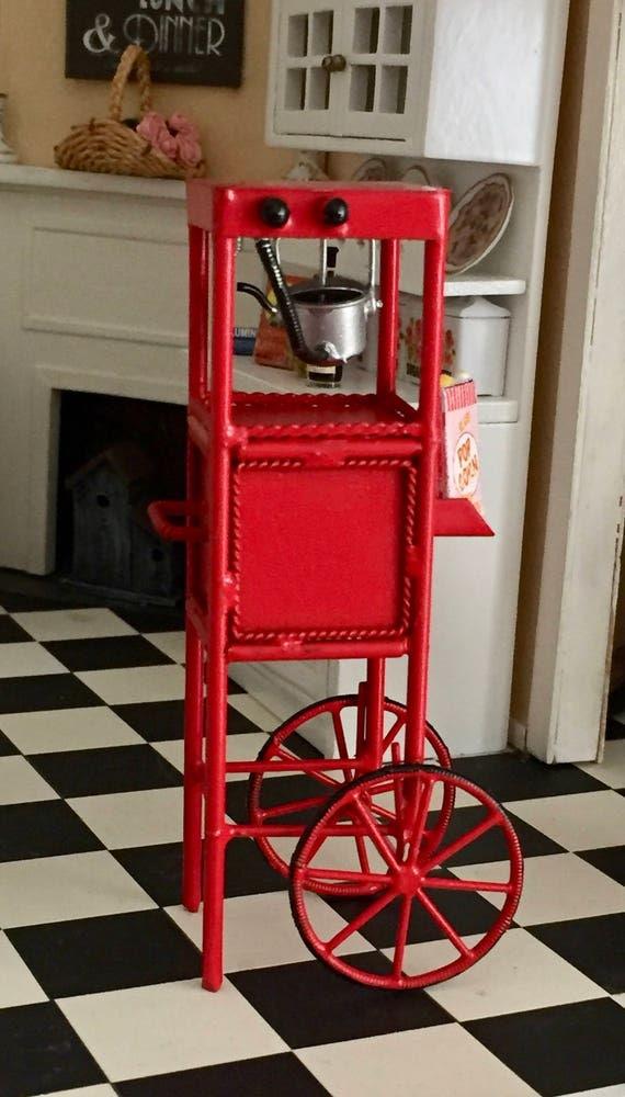 Miniature Popcorn Popper Machine, Red Popcorn Cart, Dollhouse Miniature, 1:12 Scale, General Store, Decor, Accessory, Topper