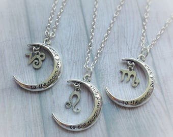 Zodiac Moon necklace, astrological sign, symbol, love you to the Moon and back,