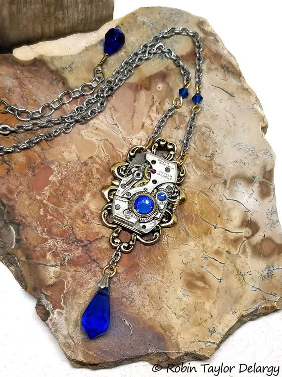 Romantic Victorian Steampunk Necklace, Watch Movement Necklace, Mixed Metal Necklace, Sapphire Blue Swarovski Rhinestones & Beads, #N0680