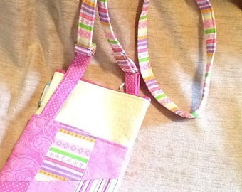 Pretty pastel pink and yellow cross body bag