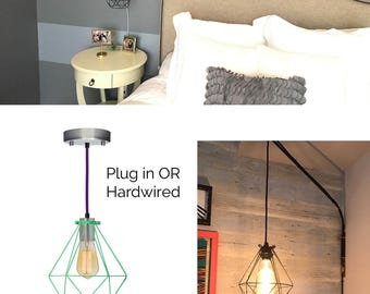 Plug in Bedside Pendant light Diamond Cage Modern Pendant Light Fixture Hanging Bedroom lamp Black Geometric design