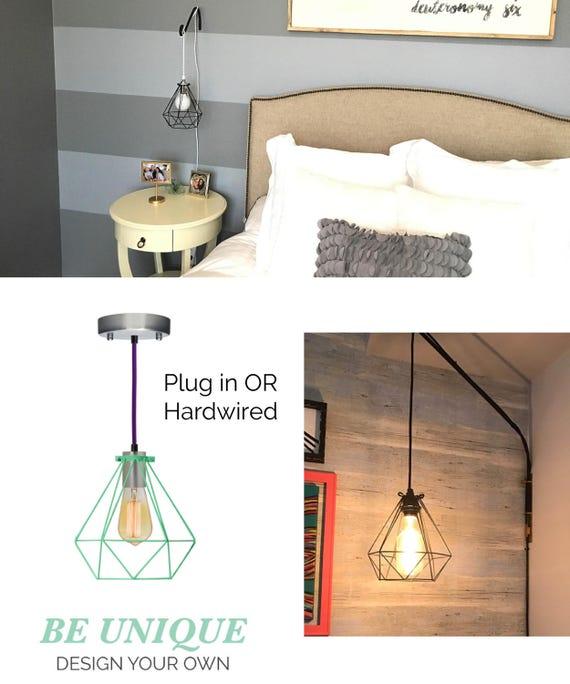 Plug In Bedside Pendant Light Diamond Cage Modern Pendant