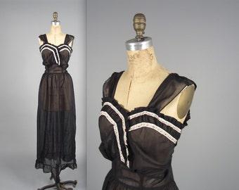 1930s sheer night gown • vintage 30s slip • black long nightie