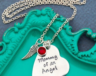 Memorial Gift Miscarriage Necklace Baby Loss Gift Angel Baby Stillborn • Mommy of an Angel Quote Necklace Memorial Jewelry