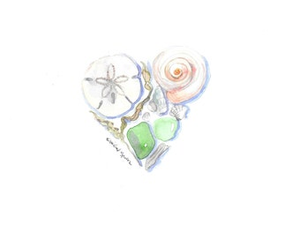 Watercolor Beach Art, Beach House Decor, Digital Download Watercolor Art, Printable Art 8 X 10