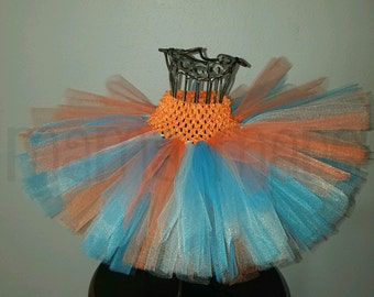 Orange,aqua and Turquoise Tutu Turquoise & orange tutu,blue and orange tutu,girls tutu,flower girl tutu,birthday tutu,full tutu,photo prop