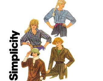 1980s Womens Pullover Top Pattern Simplicity 6552 Vintage Sewing Pattern Bust 34 inches Size 12 UNCUT Factory Folded