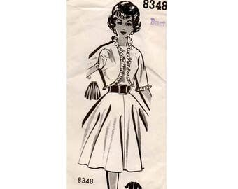 Patt O Rama 8348 Womens Full Skirt & Bolero Jacket 60s Vintage Sewing Pattern Size 16 Bust 36 inches