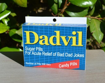 Joke Medicine Box: Dadvil! - Download & Print | Dad's Birthday | Dad Jokes | Last Minute Father's Day| Gag Gift | Gift for Dad | Joke Box