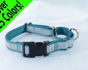 Reflective Quick-Release Martingale Dog Collar - 27 colors - any size