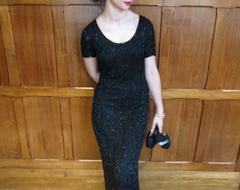 Vintage 80s Black Silk Glass Hand Beaded Full Length Sexy Formal Evening Gown Dress With Leg Split and Sheer Short Sleeves