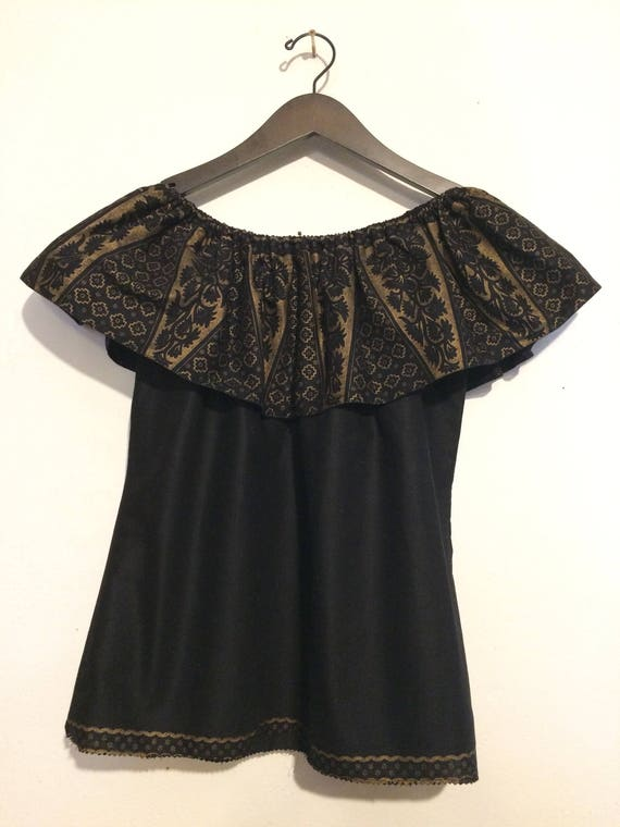 Off the Shoulder Black and Gold Top