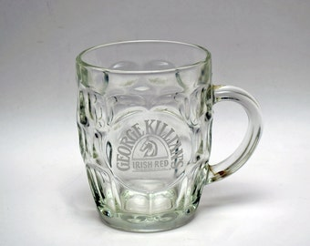 Half Price Sale! Vintage Killian's Irish Red Dimpled Laser Etched 16 Ounce Clear Glass Mug / Stein / Pub Pint