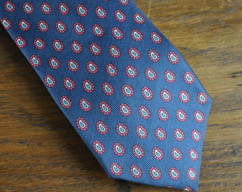 Vintage skinny tie Navy with red and white paisley MCM mid century