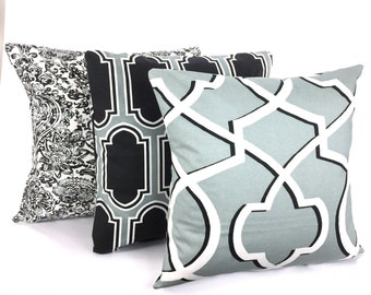 Gray Black Pillow Covers, Decorative Pillows, Cushion Covers, Cool Grey Black Off White Shiloh Fargo Morrow, Set of Three Various Sizes