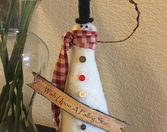 Country Snowman - Christmas decor- Wish Upon a Falling Star