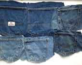 6 Blue Denim Jeans Pockets - Craft Supplies - Simple Stitching - Denim Fabric - Destash Supply - Surplus Upcycle and Repurpose
