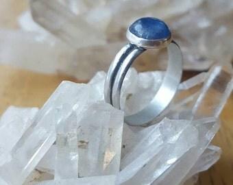 Blue Kyanite Ring   Sterling Silver Kyanite Crystal Ladies Ring Size 7. Kyanite Gemstone. Crystal Ring Handmade Healing Crystal Jewelry
