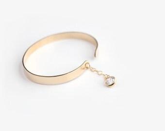 Cuff Bracelet - Custom Hand Stamped Cuff & Gemstone - 14k GOLD FILLED