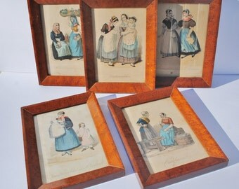 Five (5) Framed Antique German Book Plates/Illustrations - B. S. Berendsohn, Hamburg, Germany, Traditional Costumes, H. Jesson, H. Tesson