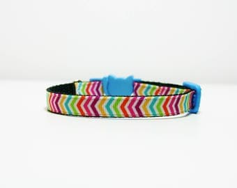 "Breakaway Rainbow Chevron Cat Kitten Safety 3/8"" Collar"