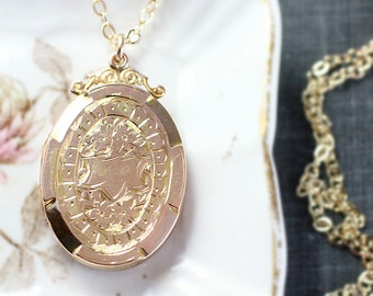Antique Gold Locket Necklace, 9ct Back and Front Edwardian Victorian Era Ivy Engraved Large Oval Pendant - Forever Affection