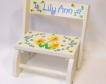 Child's Flip Stool with Lilies and Daisy Flowers in Blues and Yellow