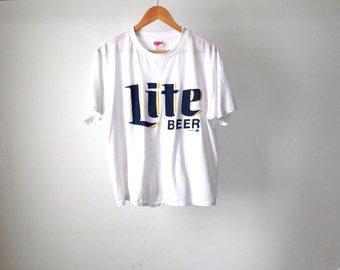 vintage MILLER LITE faded white BOXY beer thin soft vintage t-shirt