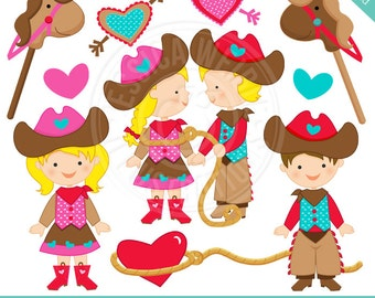 Cowboy Love Cute Digital Clipart - Commercial Use OK - Valentine Cowboy Clipart, Valentine Clipart, Valentine Cowgirl