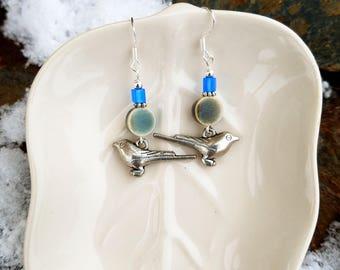 Blue Bird Earrings, Silver Bird Blue Sterling Silver Earrings, Blue Bird Sterling Silver Earrings, Blue Jaybird Silver Earrings