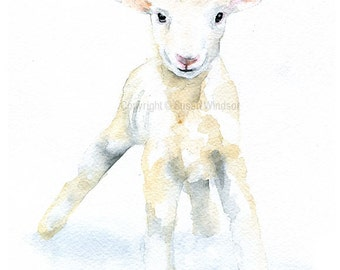 White Baby Lamb Watercolor Painting - Large Print - 16 x 20