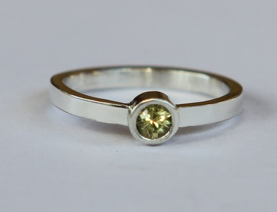 Size 2.5 Child's Natural Yellow Sapphire Sterling Silver Birthstone Ring