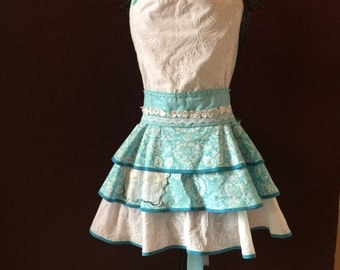 Apron  Couture HandmadeEyelet and Teal laced style full bib apron By Trish Vernazza