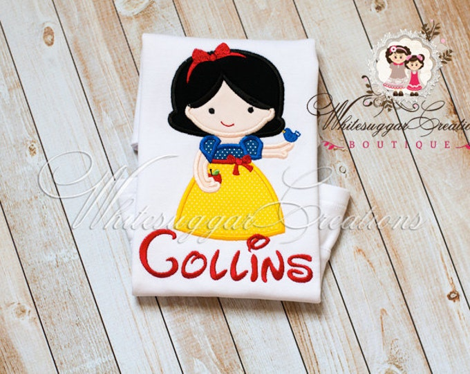 Princess White as Snow Embroidered Shirt - Princess Personalized Shirt - Snow White Inspired Outfit - Baby Girl Outfit