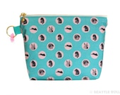CLEARANCE! Orange Apollo's Flat Bottom Zipper Pouch for Bunny Lovers (Bunny in Polka Dots)