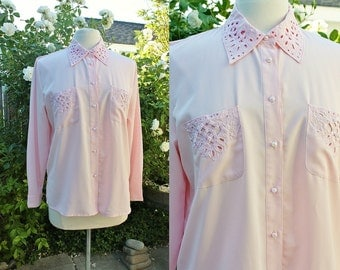 1990s Pink Blouse Petite Medium Cutout Collar Embellished Pearls Vintage Retro 90s Polyester Hipster Office Teacher Pale