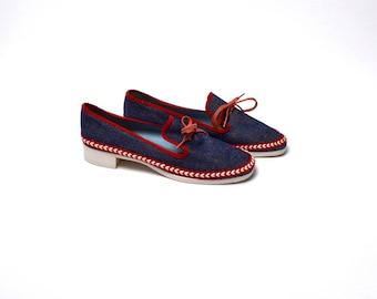 Super Cute Denim Slip On Loafers, Size 7 1/2 M