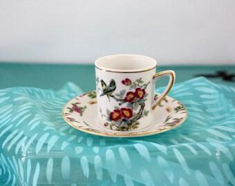Vintage 50s Cup & Sauer Demitasse Porcelain White w Love Birds Floral Tree  Gold Trim No. 2120