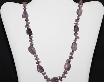 Vintage Purple Polished Agate Stone Necklace (1390-2)