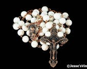 Catholic Rosary Beads Rustic White Howlite Natural Stone Copper Traditional Five Decade Catholic Gift