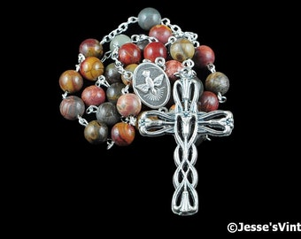 Anglican Rosary Beads Red Yellow Brown Gray Picasso Jasper Natural Stone Prayer Beads Silver Christian Episcopal