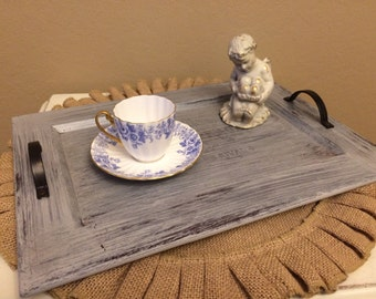 Pebble Gray Grey Tray Serving Tray French Script Shabby Distressed