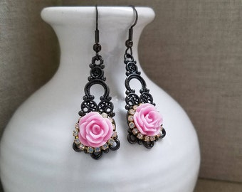 Pink Rose Flower Earrings, Shabby Chic Rose Earrings, Gunmetal Gold Rhinestone Flower Earrings, Handmade Jewelry, Rose Jewelry