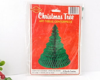 Vintage 1980 Honeycomb Tissue Paper Christmas Tree, 11 Inch Tall Christmas Tree Centerpiece, Sealed In Original Package, Made by Beistle co.