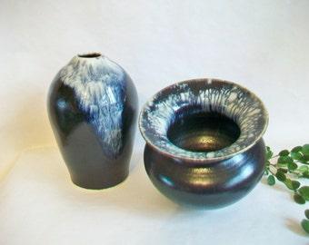 Slate, Cream - 3 Fire  -- Vase and/or  Squatty Decorative Vessel  - Unique Glaze Design