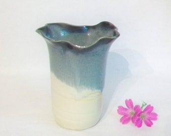 Slate over Cream Vase with a Hand Carved and Altered Rim  - Handmade - Wheel Thrown - Ready to Ship