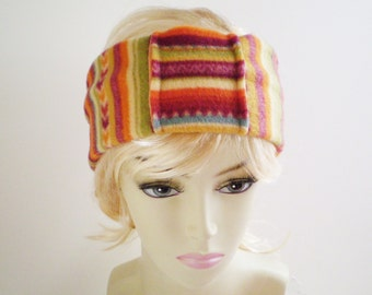 Fleece Tribal Headband, Fleece Tribal Ear Warmer, Colorful Fleece Ear Warmer, Colorful Stripe Ear Warmer, Ethnic Ear Warmer