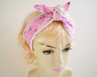 Valentine Head Scarf, Valentine's Day Headband, Valentine's Day Knotted Head Scarf